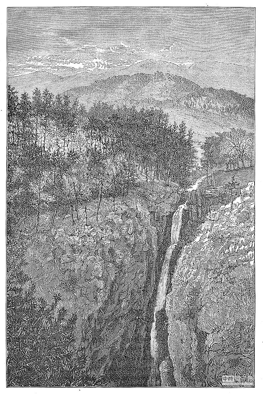 雪竇山谷中的三隱潭瀑布。(J.D.Cooper繪製)