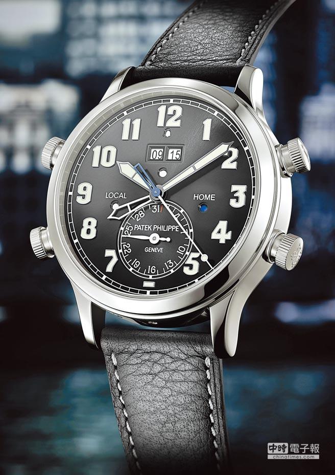 百達翡麗5520P-001兩地時間響鬧鉑金腕表,結合獨家雙時區顯示裝置和24小時經典音簧響鬧功能,690萬元。(Patek Philippe提供)