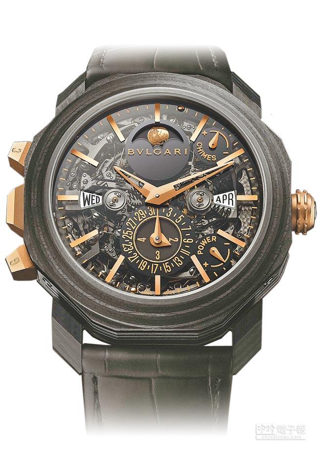 寶格麗Octo Roma大自鳴萬年曆複雜功能腕表,2613萬。(BVLGARI提供)
