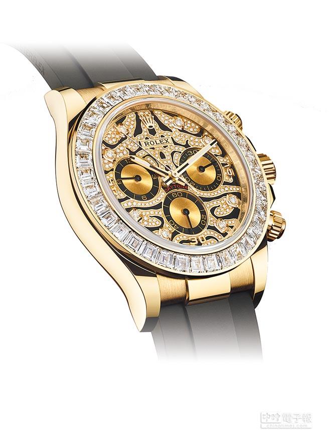 勞力士Oyster Perpetual Cosmograph Daytona黃金鑽表,是品牌年輕潮流化的代表作品。(Rolex提供)