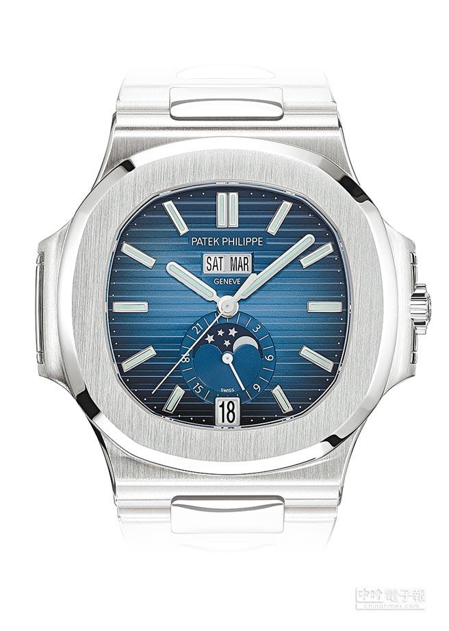 百達翡麗Nautilus 5726/1A-014換上藍色表面,更加時尚年輕,139萬7000元。(Patek Philippe提供)