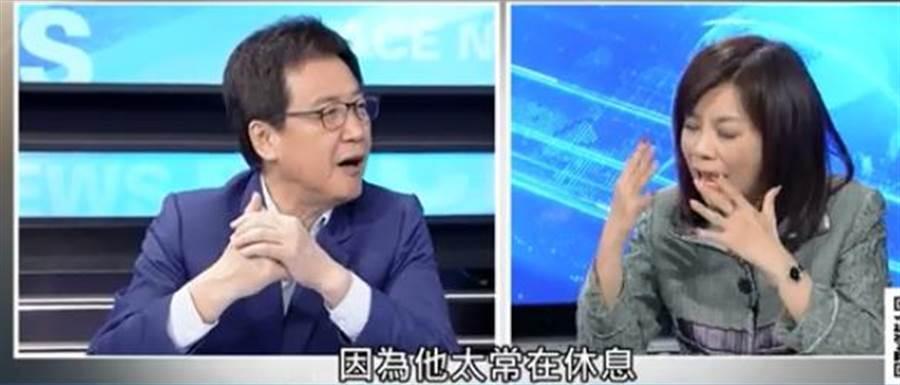名嘴余莓莓昨日上政論節目,質疑高雄市長韓國瑜如果要選總統身體受的了嗎?他常常就是不見了,要休息。(Youtube截圖)