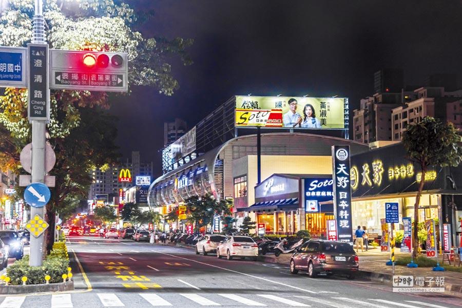 高雄文山特區的生活機能便利,圖為澄清路商圈,店家林立。圖/顏瑞田