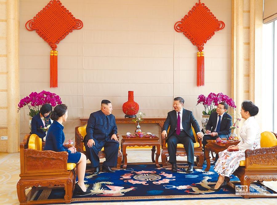 2019年1月9日,大陸國家主席習近平在北京飯店會見金正恩。(新華社)