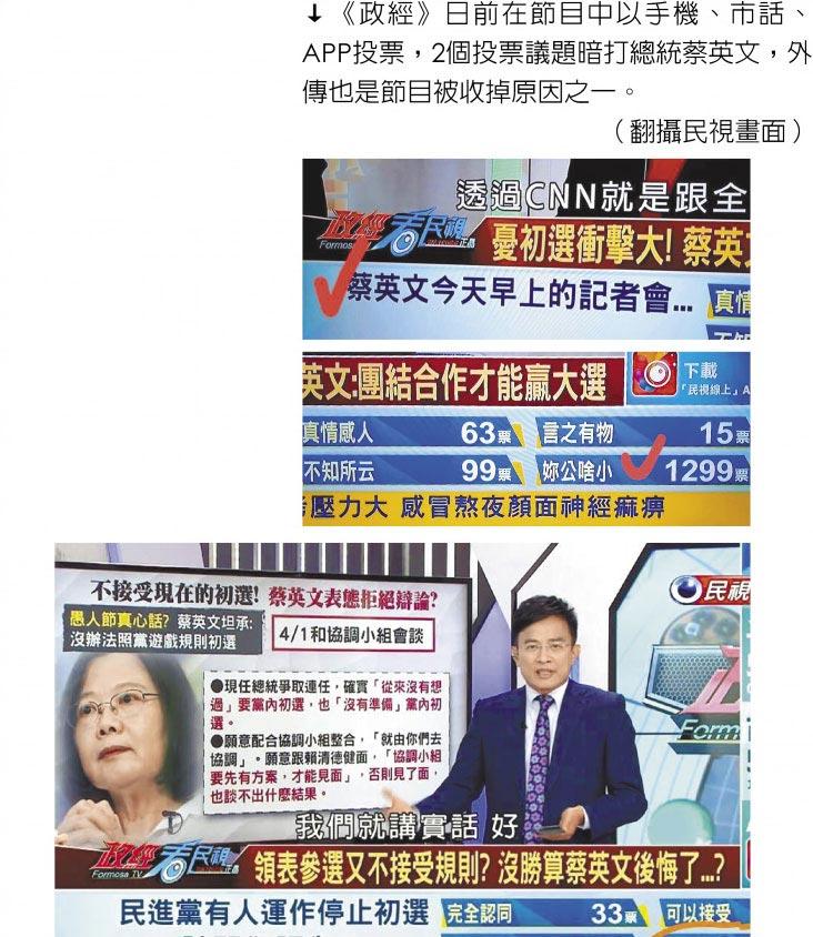《政經》日前在節目中以手機、市話、APP投票,2個投票議題暗打總統蔡英文,外傳也是節目被收掉原因之一。(翻攝民視畫面)