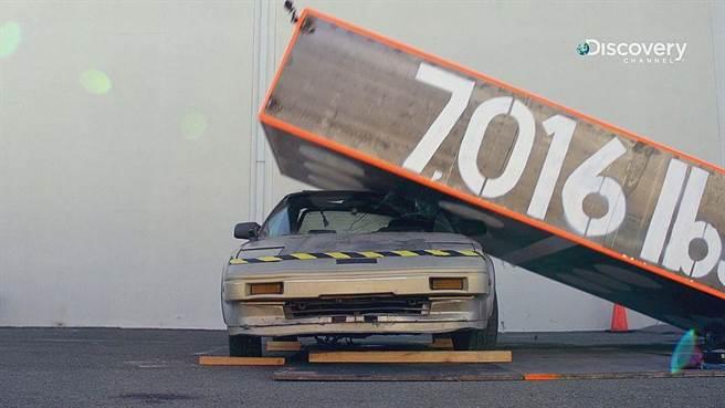高4公尺、重達3,200公斤的「骨牌哥」,利用重力加速度的作用力壓扁一輛汽車。(Discovery頻道 提供)