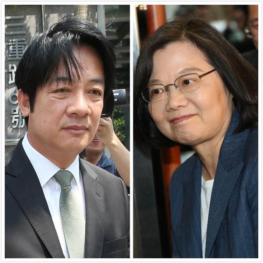 前行政院長賴清德(左)、總統蔡英文(右)。(合成圖/中時資料照)