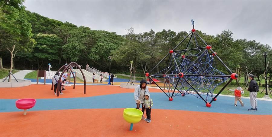 花蓮市美崙山公園以共融式遊具,讓親子、小朋友能快樂玩耍。(許家寧翻攝)