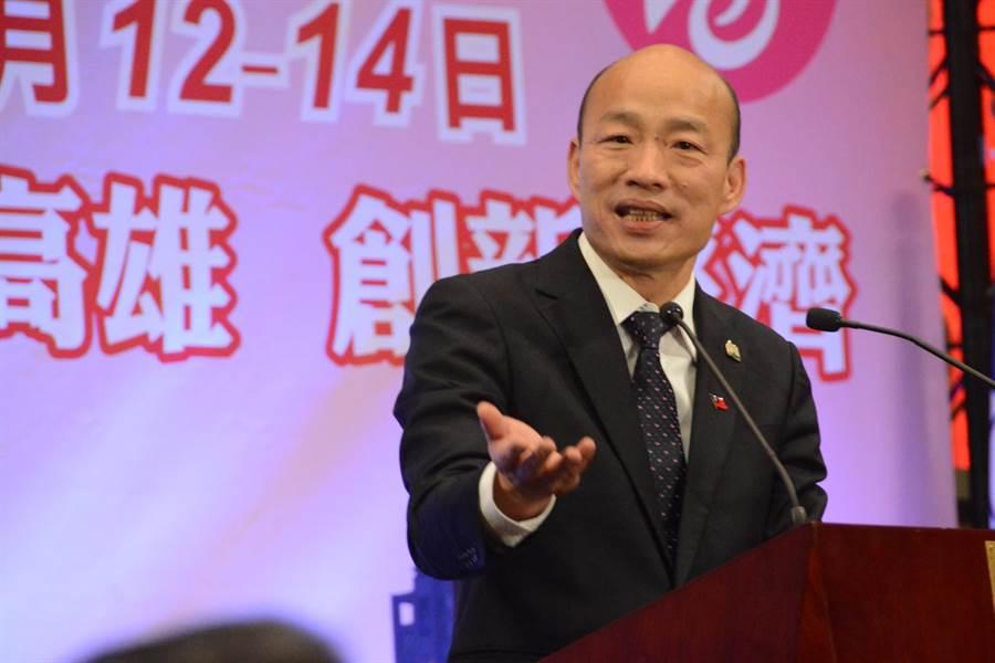 韓國瑜14日訪問洛杉磯,談到過去3任總統都是台大法律系,這3任總統幹完,台灣的經濟和競爭力基本上已經殘廢了。(圖/林宏聰攝)