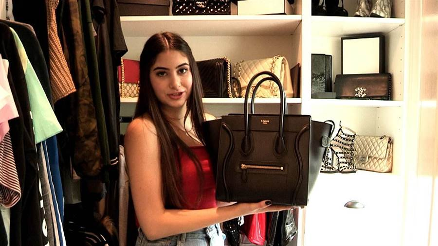 15歲的Nicolette有滿屋子奢侈品(圖片截自Youtube)