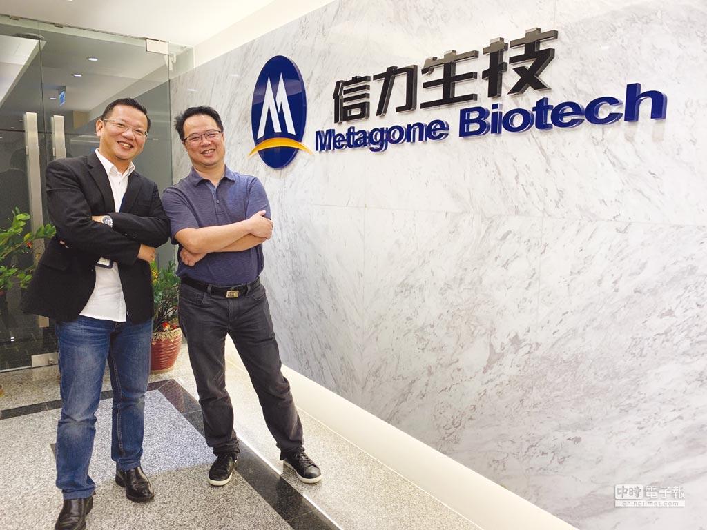 信力生技執行副總經理黃冠榕(左)與MG-S-2525新藥發明人李台威博士合影。圖/魏益權