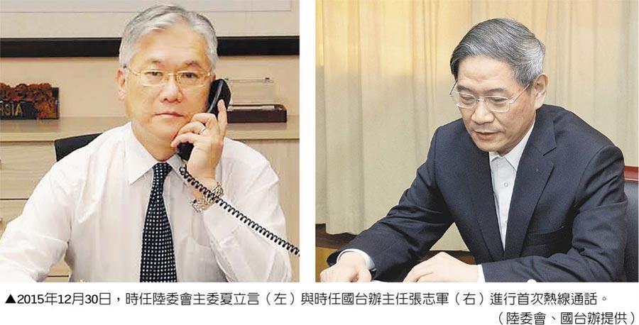 2015年12月30日,時任陸委會主委夏立言(左)與時任國台辦主任張志軍(右)進行首次熱線通話。(陸委會、國台辦提供)