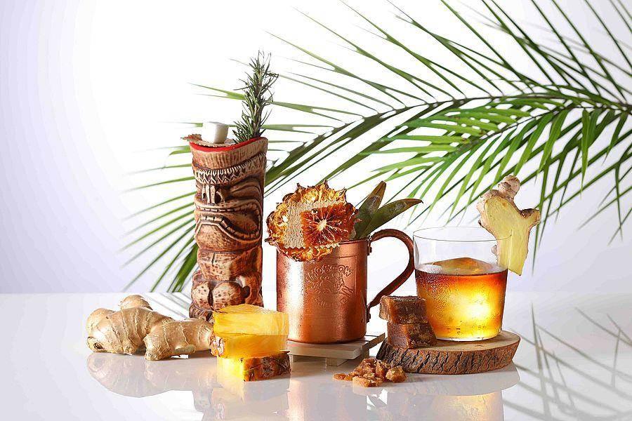 生姜类型调酒左至右─新姜波司令、东协俱乐部、看见台湾。(Mega 50提供)