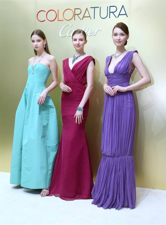 卡地亞「COLORATURA」珠寶展即起登台,展出要價近百億的珠寶。(粘耿豪攝)
