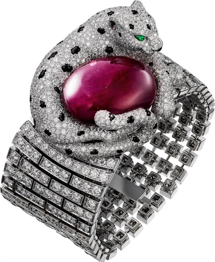 卡地亞經典美洲豹「PANTHERE DE CARTIER」珠寶腕表鍊,4780萬元。(Cartier提供)
