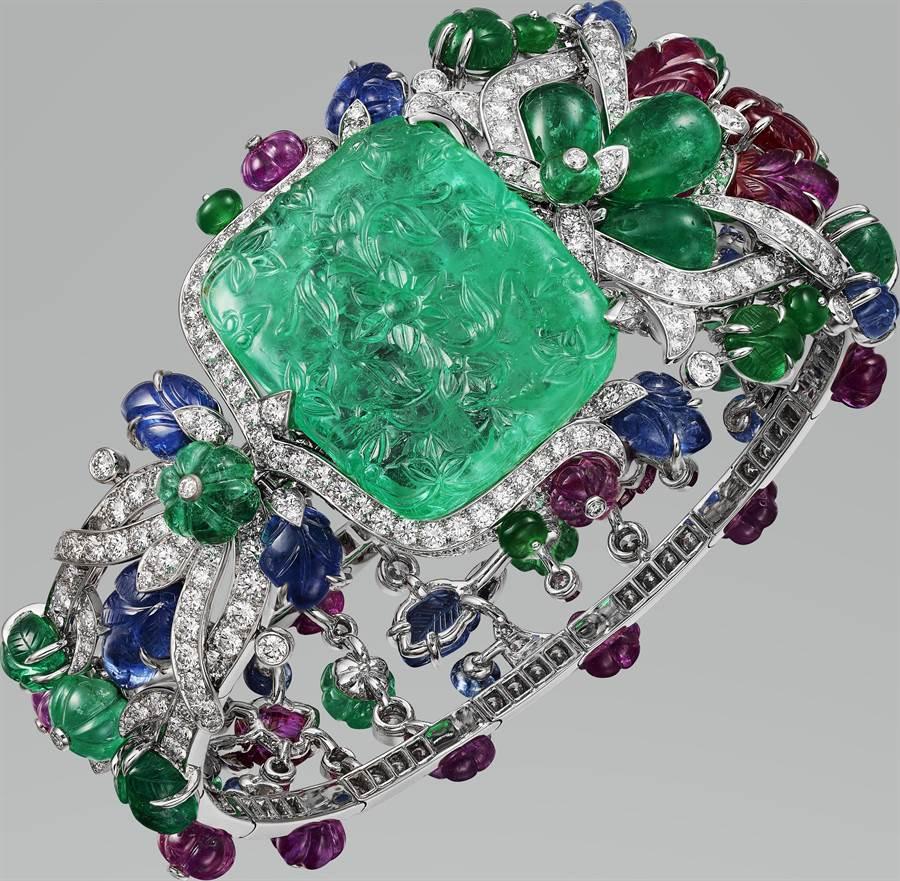 卡地亞Tutti Frutti系列「CHALIYA」祖母綠手鍊,主石為34.58克拉哥倫比亞祖母綠,4050萬元。(Cartier提供)