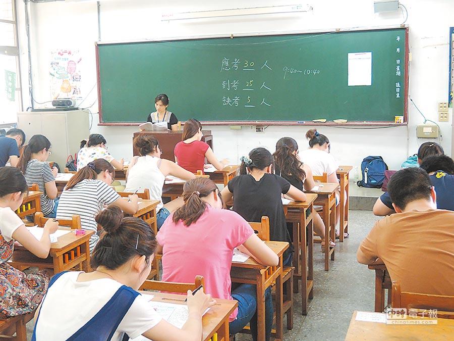桃園市國小新進教師聯合甄選將於4月17日公告簡章、5月26日初試、6月2日複試,圖為去年筆試情形。(蔡依珍攝)