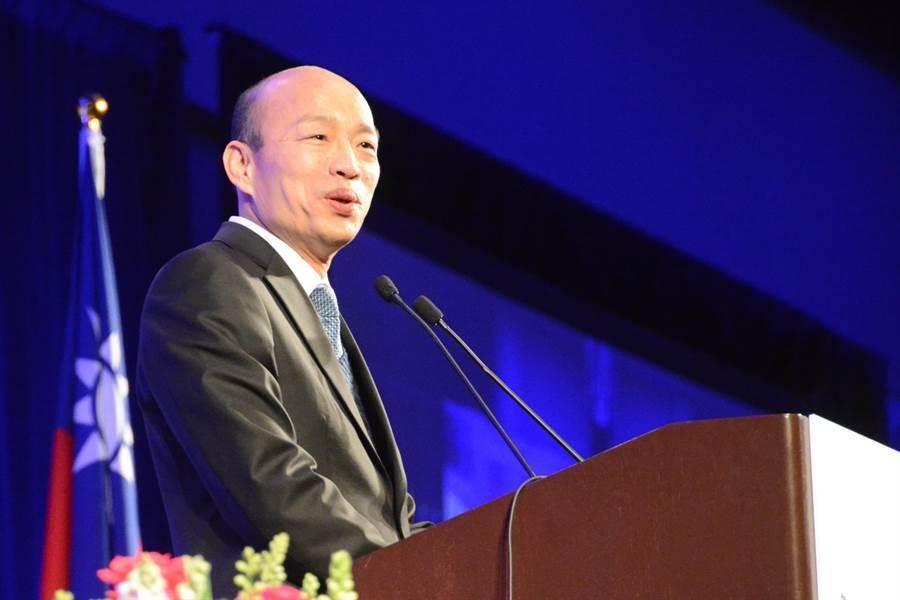 高雄市长韩国瑜访美行最后一站,对满场群眾演讲,他略显疲态,也只演讲20多分钟,活动比原订时间提早结束。(林宏聪摄)