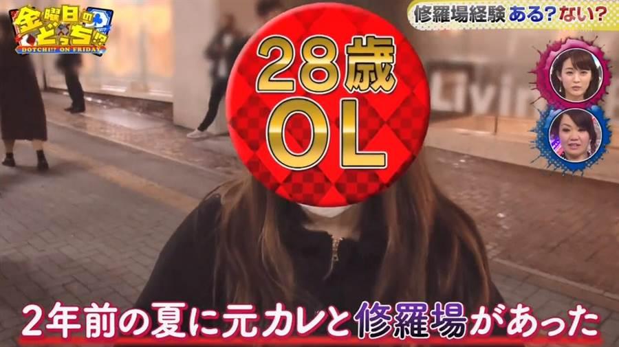日本節目《金曜日のどっち》先前進行街訪,訪問到一名28歲OL(圖翻攝自/香港01)
