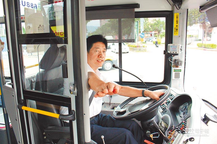 台北市交通局規範公車業者每條路線至少選3處路口,要求駕駛在轉彎時進行「指差確認」,避免視線死角減低肇事率。(張立勳翻攝)