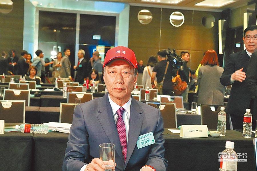鴻海董事長郭台銘16日出席「2019印太安全對話」,在中場休息時間接受媒體訪問。(記者呂佳蓉攝)