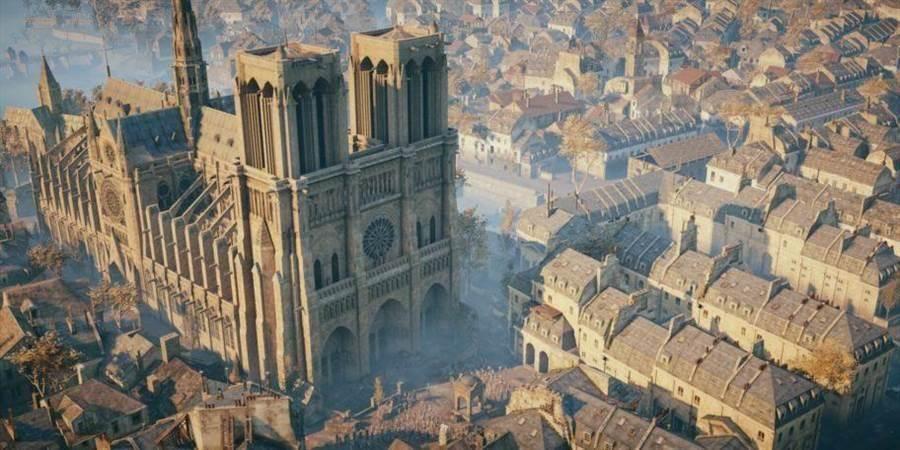 《刺客教條:大革命》遊戲內的巴黎聖母院畫面。(圖/翻攝ubisoft )