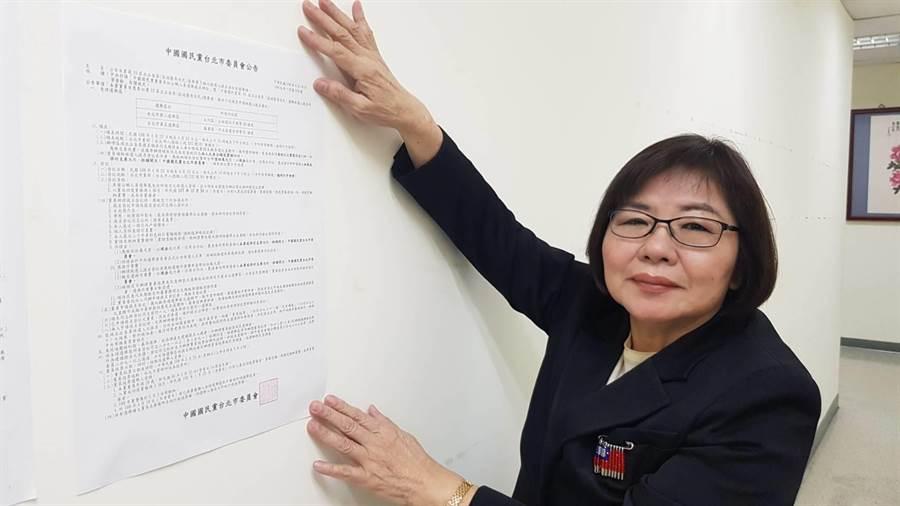 國民黨市黨部今公布北市立委初選第3梯次作業,22日起至24日開放領表登記。(國民黨市黨部提供)