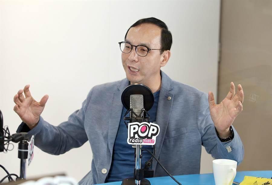 前新北市長朱立倫18日接受電台專訪。(姚志平攝)