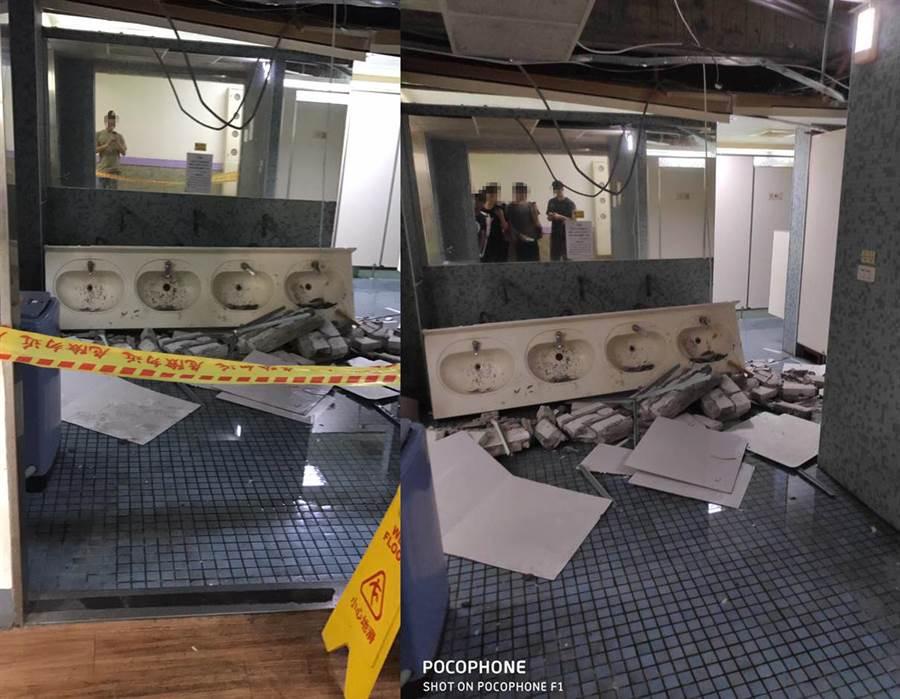 男宿廁所經地震一搖,滿地全是碎石(右圖翻攝自/靠北師大/左圖/爆料公社)