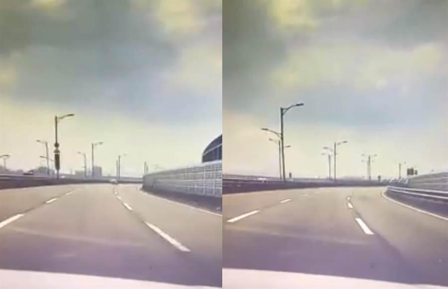 強震來襲!新北環快路燈整排晃很大(圖翻攝自/爆料公社)