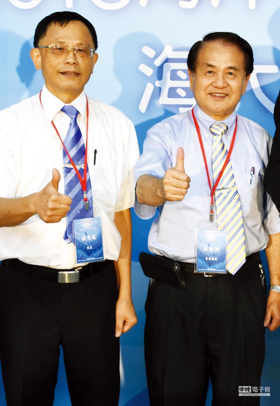 國立臺灣海洋大學張清風校長(左起)、計畫主持人中研院吳金洌客座講座圖/農業生技分析與促進辦公室提供