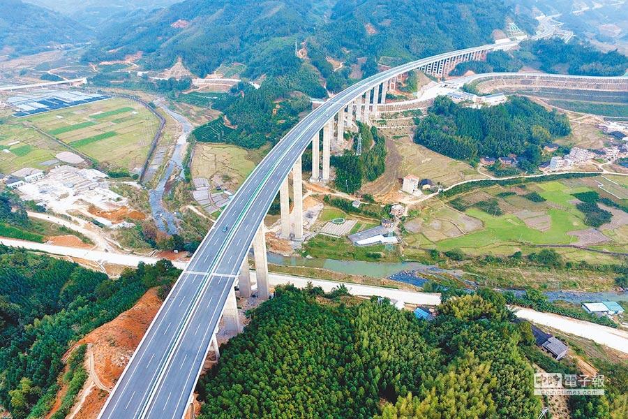 大陸Q1經濟成長6.4%。圖為穿山而過的福建高速路段。(中新社資料照片)