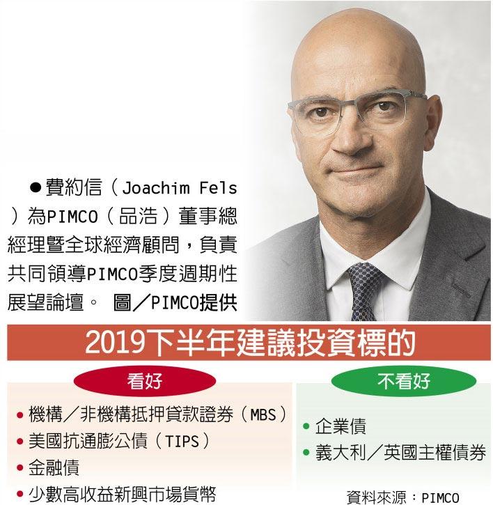 2019下半年建議投資標的 費約信(Joachim Fels)為PIMCO(品浩)董事總經理暨全球經濟顧問,負責共同領導PIMCO季度週期性展望論壇。圖/PIMCO提供