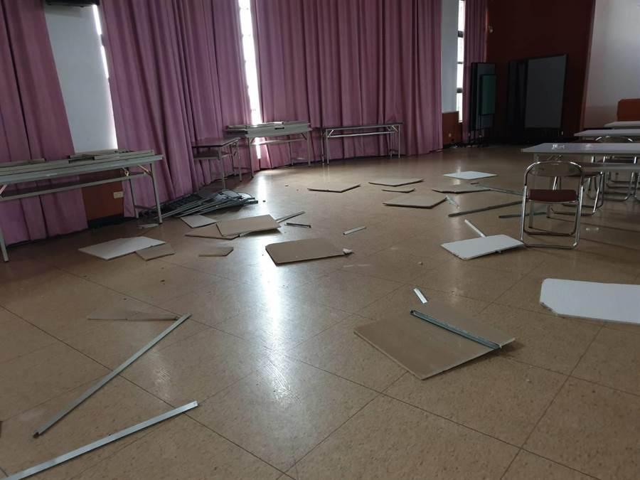 花蓮6.1大地震 北市大安區公所天花板倒塌