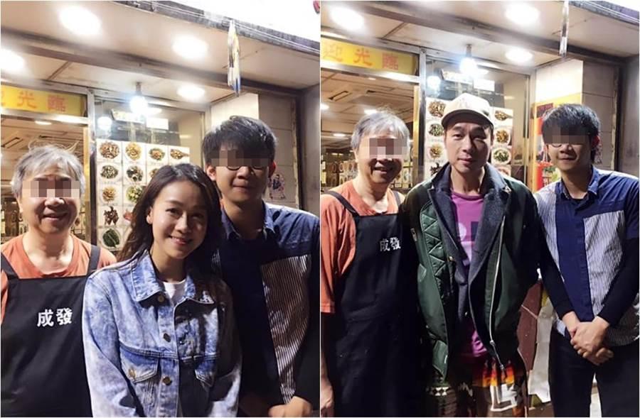 許志安和黃心穎上月一前一後在餐廳留下合影。(圖/取自《on.cc東網》)