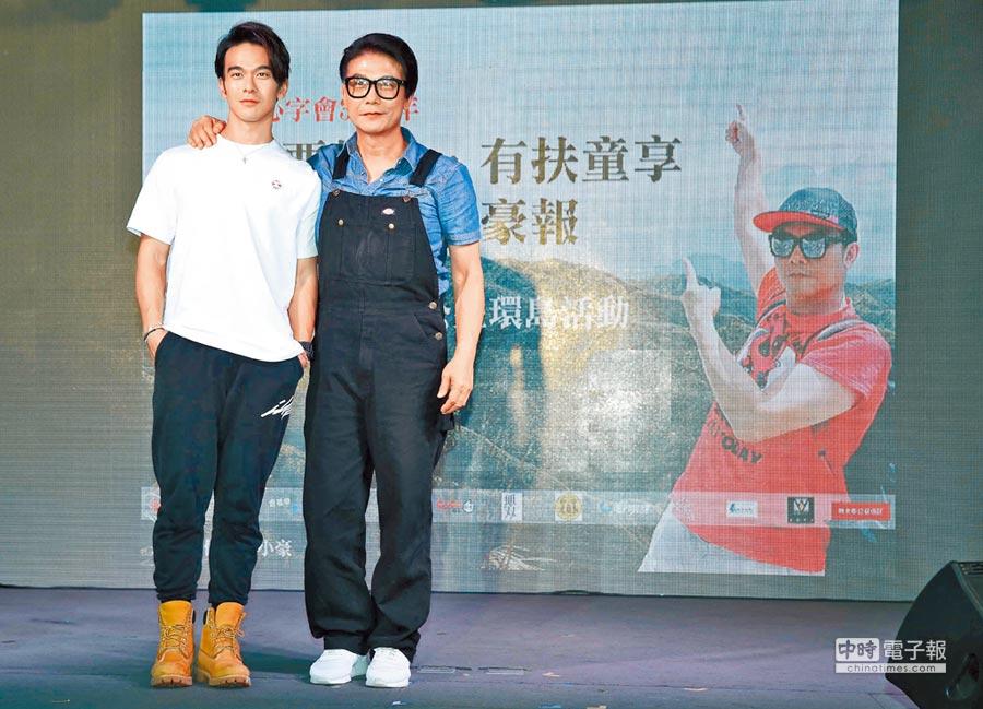 錢小豪(右)跟兒子龐景峰兩人首次一同訪台。(陳俊吉攝)