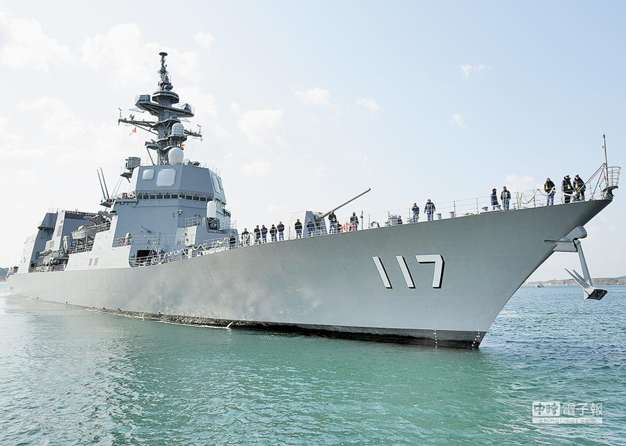 將參加大陸海軍節閱兵的DD-117涼月號驅逐艦。(取自日本自衛隊官網)