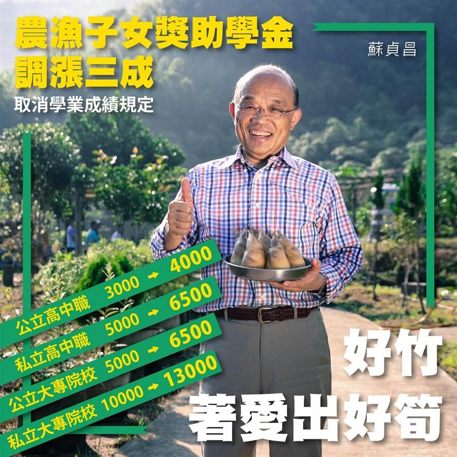 農漁子女獎助學金調整。(蘇貞昌臉書)