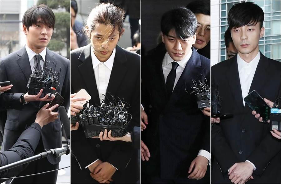 由崔鍾訓(左起)、鄭俊英、勝利、Roy Kim等人組成的淫片群組又爆出受害者。(圖/達志影像)