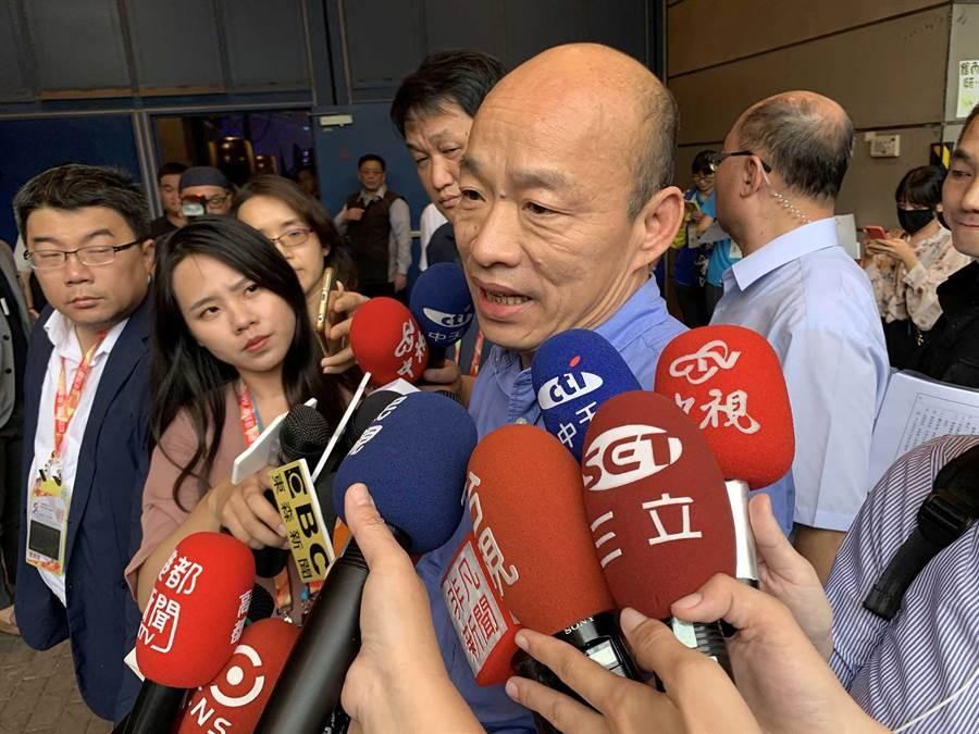 高雄市長韓國瑜20日再批蔡英文總統搞錯重點,只是一味想黑他,而不去思考三軍欠缺軍法。(柯宗緯攝)