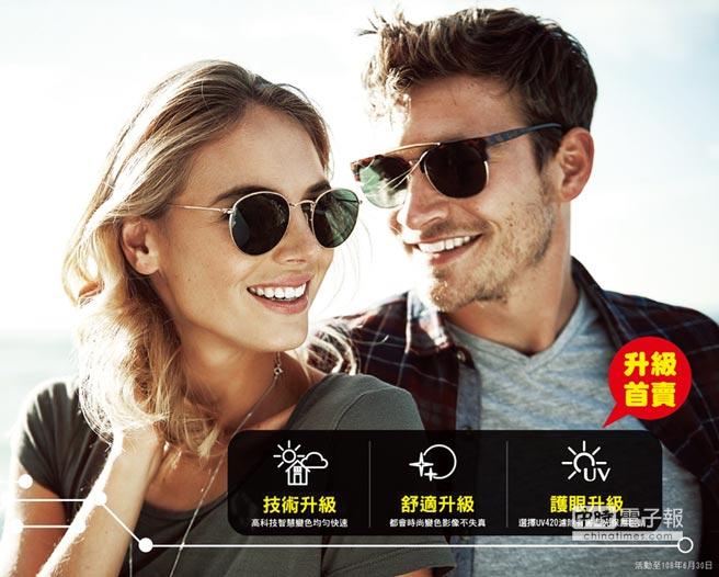 得恩堂眼鏡歡慶78周年,FUJI LENS光動能智慧變色感恩價1,980元,另指定多焦點鏡片免費升級濾藍光。圖/業者提供