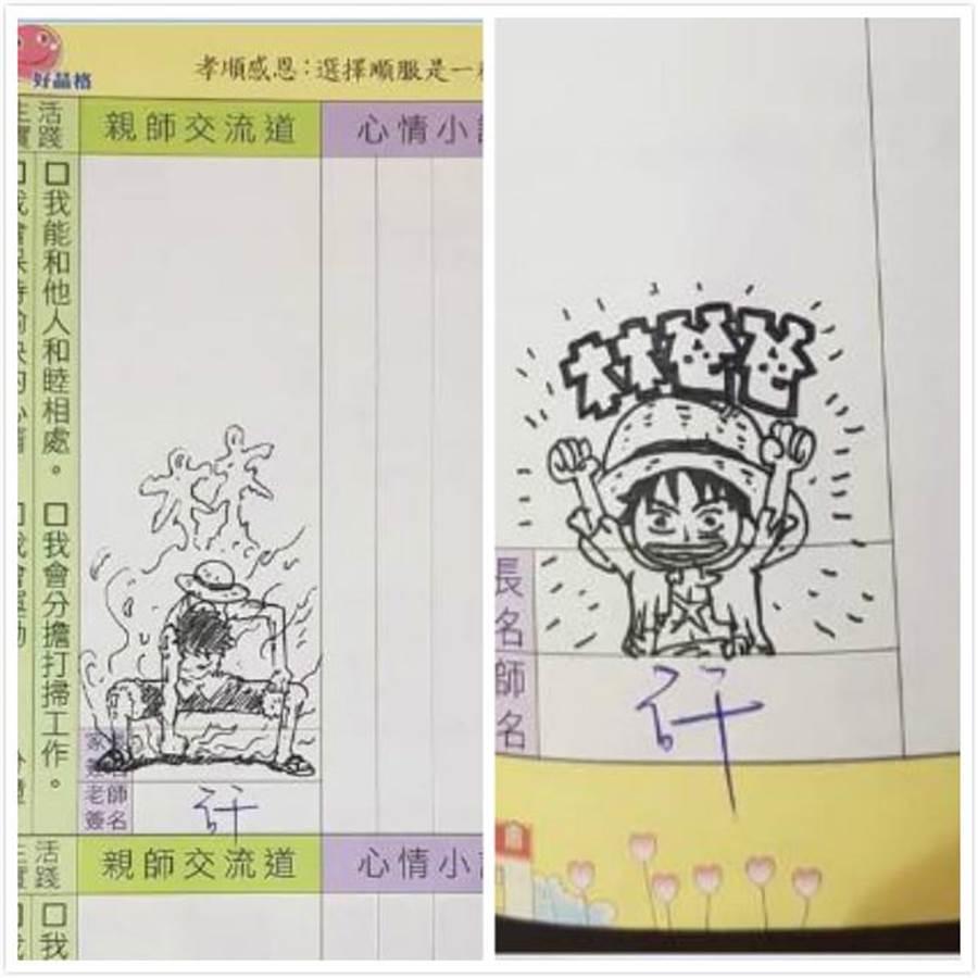網友po出他用動漫簽大女兒家庭聯絡簿,讓萬名網友驚呆。翻攝《爆廢公社二館》