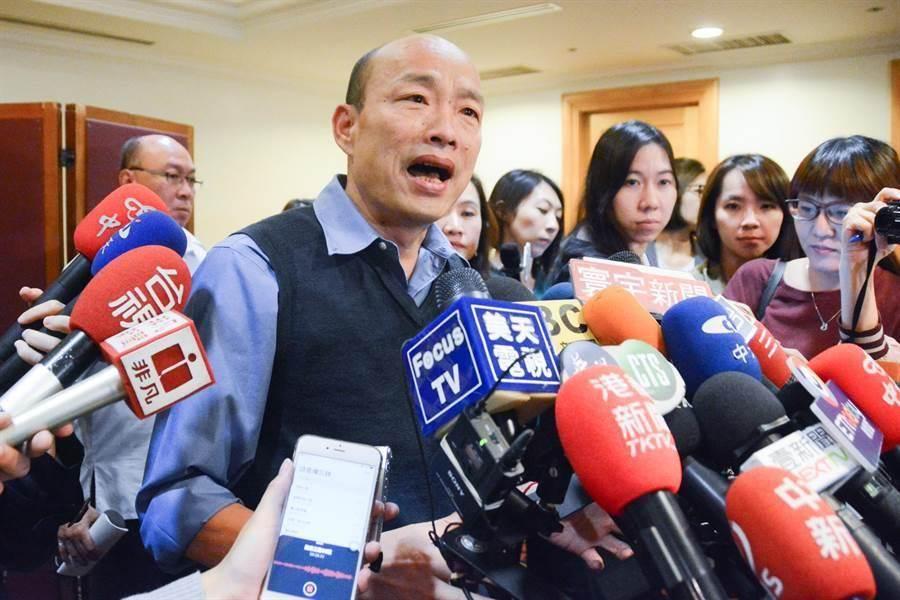 高雄市長韓國瑜表示,正在草擬聲明,應該本周內就能發布。(林宏聰攝)