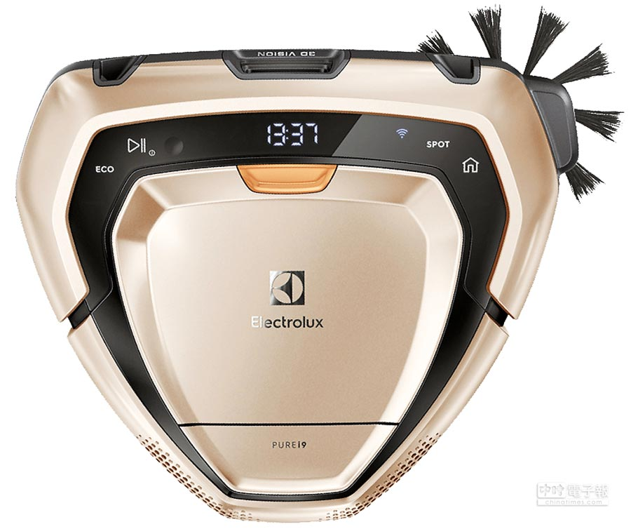 燦坤的伊萊克斯PURE i9型動機器人,建議售價3萬5990元,燦坤會員價2萬9900元,回函送濾網組、沙發布質吸頭,加碼再送直立式吸塵器及蒸氣電熨斗。(燦坤提供)