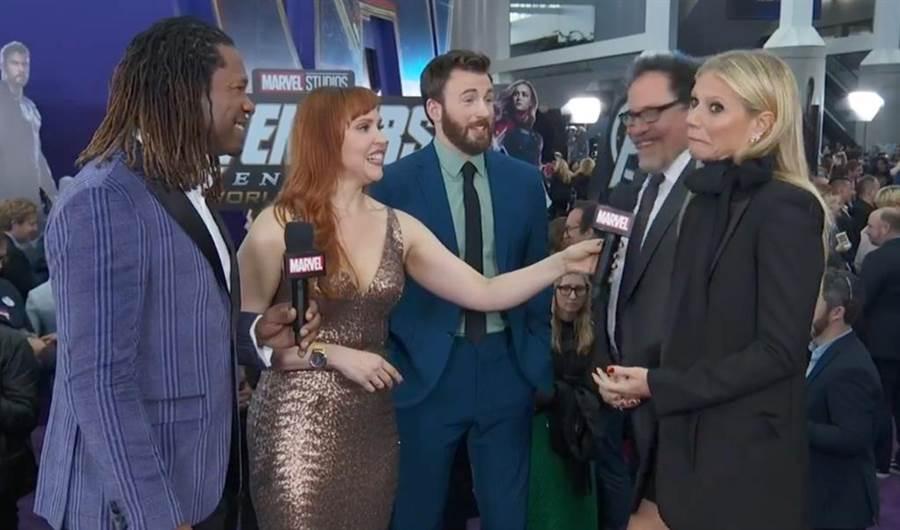 葛妮絲派特洛(右1)發現自己說太多歪嘴懊惱。(圖/翻攝自Avengers臉書)