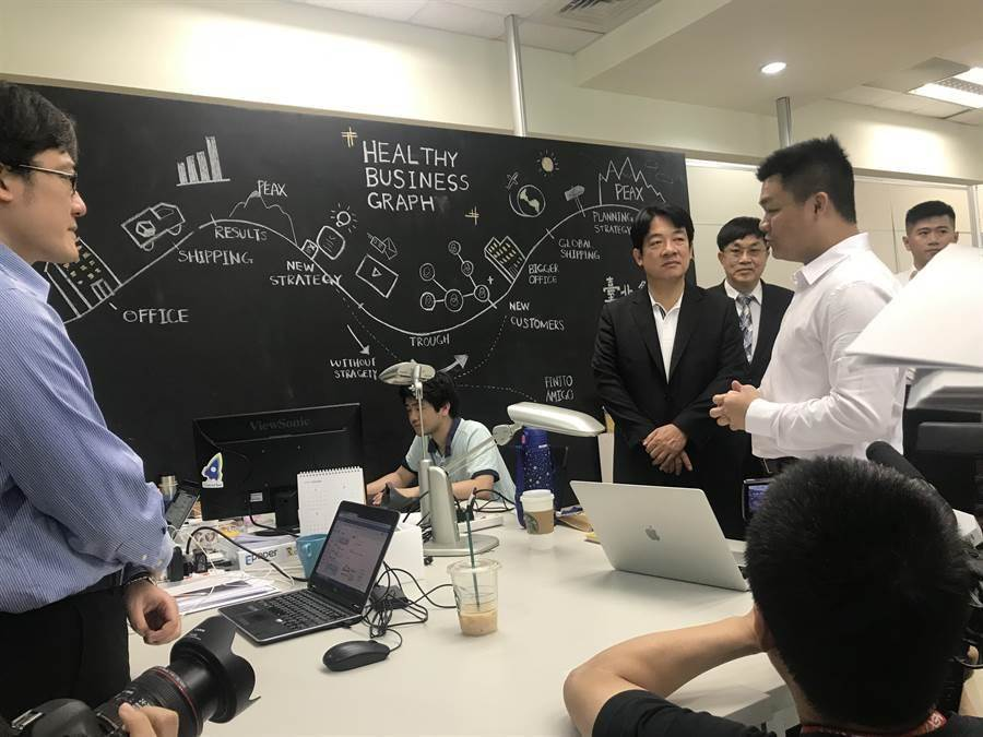 前行政院長賴清德23日到內湖的創新實驗室Taipei Co-Space與青創業者交流。(曾薏蘋攝)