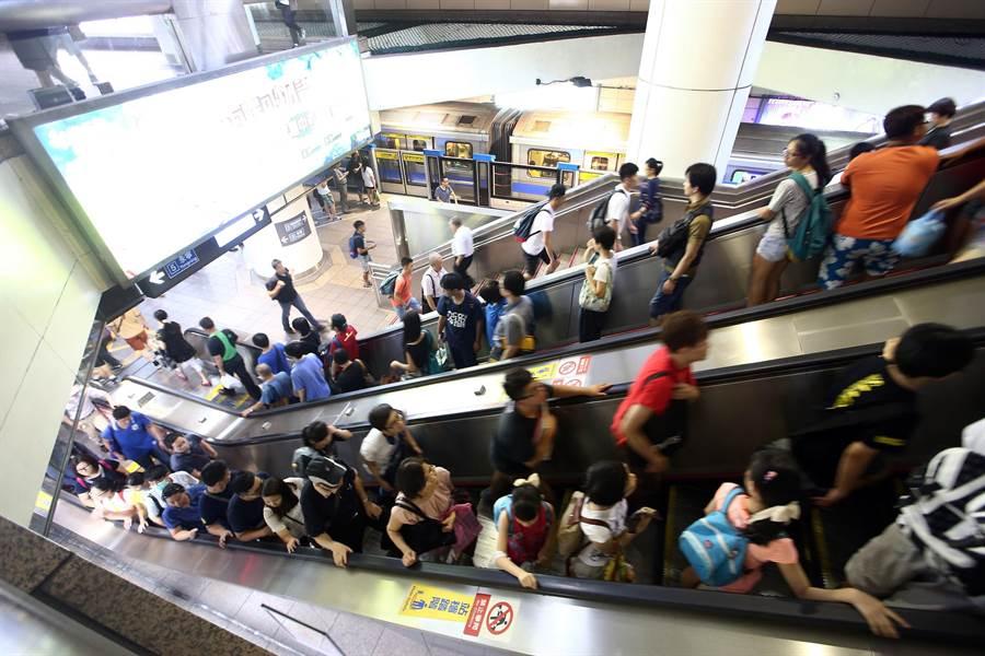 北捷乘客搭乘手扶梯多習慣站立右側,騰出左側讓趕時間的人可快速行走。(資料照片 陳信翰攝)