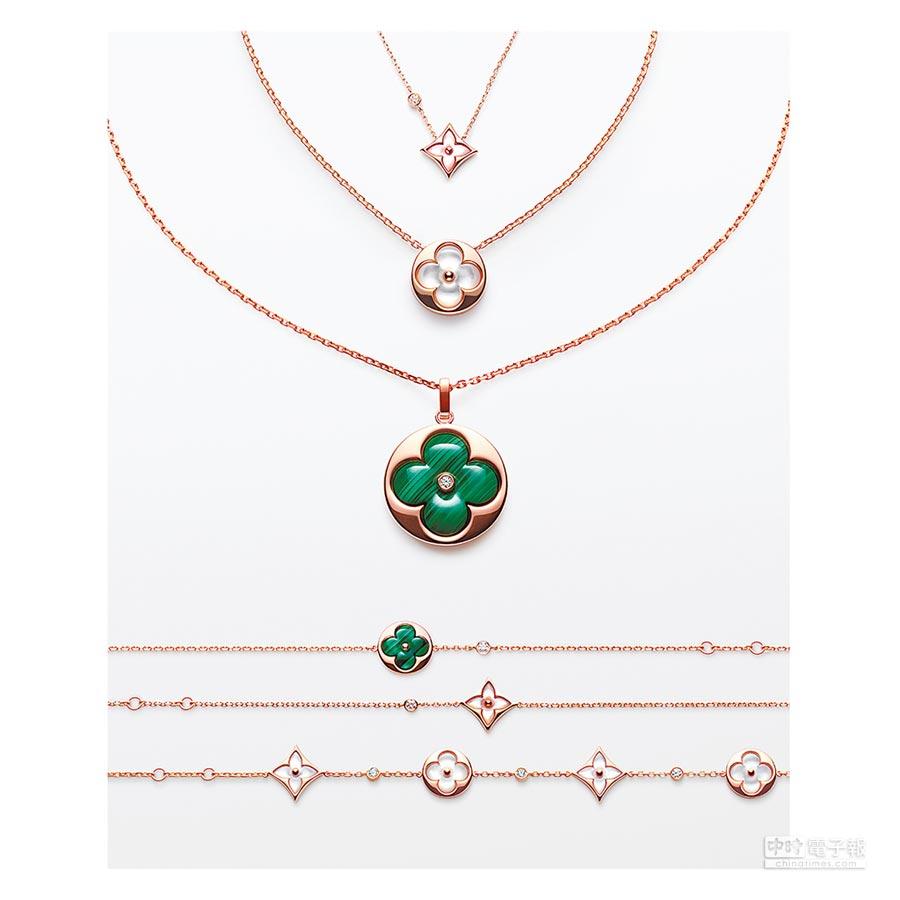 路易威登的BLOSSOM系列珠寶,設計源自品牌在1896年創作的經典MONOGRAM,外型像一朵盛開的花朵,因此名為「BLOSSOM」。(LV提供)