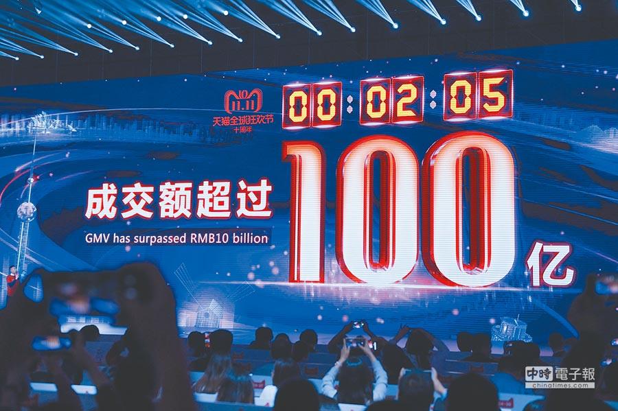 馬雲表示,騰訊是阿里發展的伴侶。圖為2018天貓雙11全球狂歡夜。(新華社)