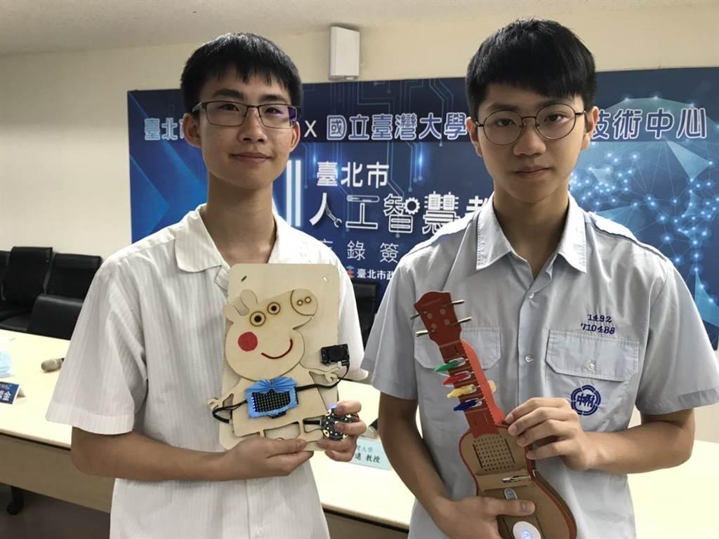 永春高中今年4月率先開設AI科技學程班,圖為學生製作的「AI電吉他」等作品。(張潼攝)